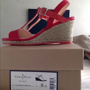 Red T-strap sandals.